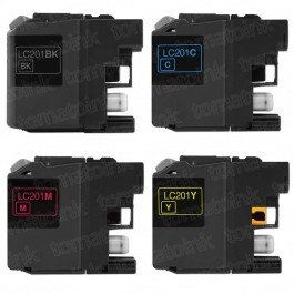 Brother LC201 Black & Color 4-pack Ink Cartridges