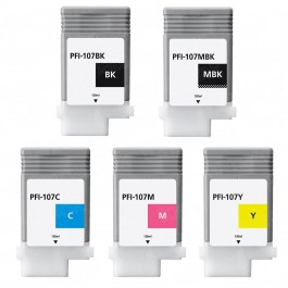 Canon PFI-107 Black & Color 5-pack Ink Cartridges
