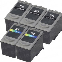 Canon PG-50 Black & CL-51 Color 5-pack High Yield Ink Cartridges
