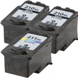Canon PG-210XL Black & CL-211XL Color 3-pack High Yield Ink Cartridges