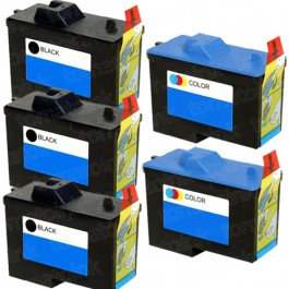 Dell (Series 2) 7Y743 Black & 7Y745 Color 5-pack Ink Cartridges