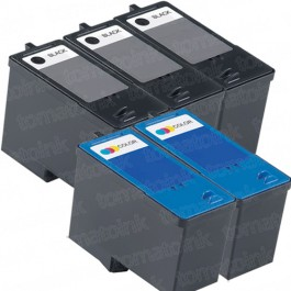 Dell (Series 9) MK992 Black & MK993 Color 5-pack Ink Cartridges
