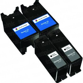 Dell (Series 22) T091N Black & T092N Color 4-pack Ink Cartridges