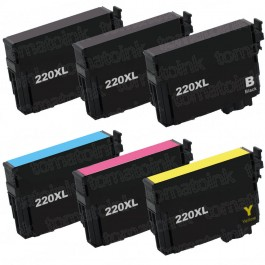 Epson 220XL T220XL Black & Color 6-pack HY Ink Cartridges