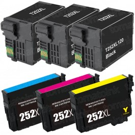 Epson 252XL T252XL Black & Color 6-pack HY Ink Cartridges