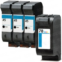 HP 45 Black & HP 78 Color 4-pack Ink Cartridges