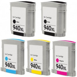 HP 940XL Black & Color 5-pack High Yield Ink Cartridges
