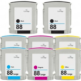 HP 88XL High Yield Black & Color 8-pack Ink Cartridges