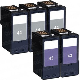 Lexmark #44XL Black & #43XL Color 5-pack HY Ink Cartridges