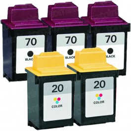 Lexmark #70 Black & #20 Color 5-pack Ink Cartridges
