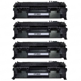 HP 80X (CF280X) 4-pack High Yield Black Toner Cartridges