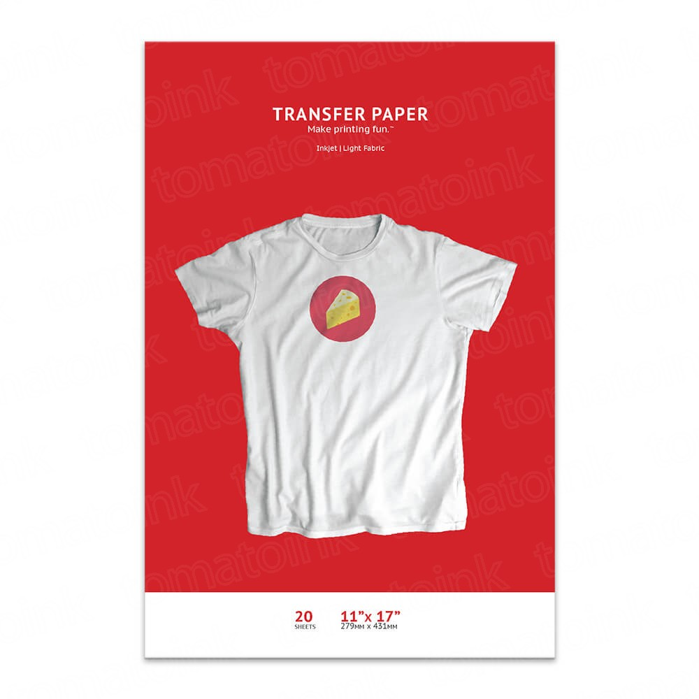 Premium T-shirt Iron-on 11 x 17 Transfer Paper, White or Light Colored  Fabric - 20 Sheet Pack