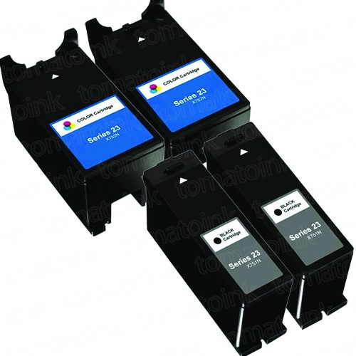 Dell (Series 23) T105N Black & T106N Color 4-pack Ink Cartridges