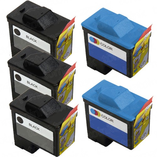 Dell (Series 1) T0529 Black & T0530 Color 5-pack Ink Cartridges