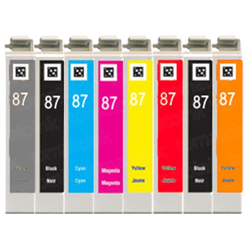 Epson 87 T087 Black & Color 8-pack High Yield Ink Cartridges