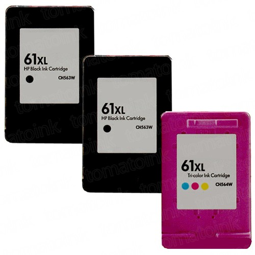 HP 61XL High Yield Black & Color 3-pack Ink Cartridges
