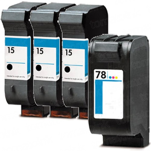 HP 15 Black & HP 78 Color 4-pack Ink Cartridges