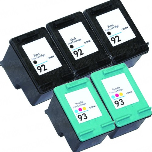 HP 92 Black & HP 93 Color 5-pack Ink Cartridges