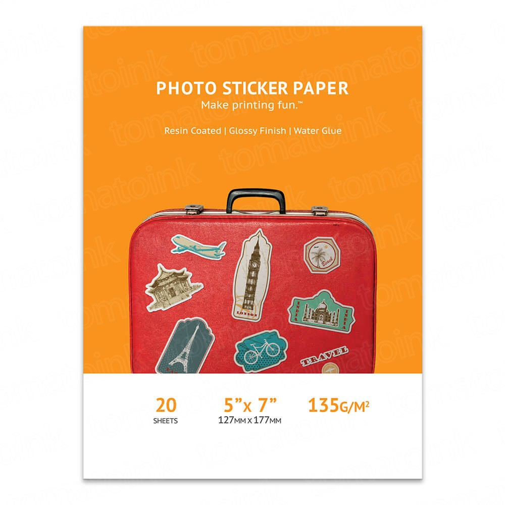 5x7 Glossy Inkjet Photo Sticker Paper 20 sheets