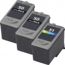 Canon PG-50 Black & CL-51 Color 3-pack High Yield Ink Cartridges