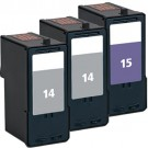Lexmark #14 Black & #15 Color 3-pack Ink Cartridges