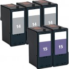 Lexmark #14 Black & #15 Color 5-pack Ink Cartridges