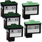 Lexmark #17 Black & #27 Color 5-pack Ink Cartridges