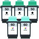 Lexmark #50 Black & #60 Color 5-pack Ink Cartridges